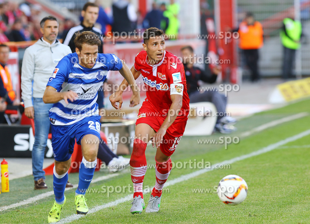 26.09.2015, Alte Foersterei, Berlin, GER, 2. FBL, 1. FC Union Berlin vs MSV Duisburg, 9. Runde, im Bild Steffen Bohl (#28, MSV Duisburg) im Laufduell mit Damir Kreilach (#19, FC Union Berlin) // SPO during the 2nd German Bundesliga 9th round match between 1. FC Union Berlin and MSV Duisburg at the Alte Foersterei in Berlin, Germany on 2015/09/26. EXPA Pictures &copy; 2015, PhotoCredit: EXPA/ Eibner-Pressefoto/ Hundt<br /> <br /> *****ATTENTION - OUT of GER*****