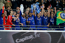 Didier Drogba and John Terry of Chelsea lift the League Cup trophy after winning the Capital One Cup Final - Photo mandatory by-line: Rogan Thomson/JMP - 07966 386802 - 01/03/2015 - SPORT - FOOTBALL - London, England - Wembley Stadium - Chelsea v Tottenham Hotspur - Capital One Cup Final.