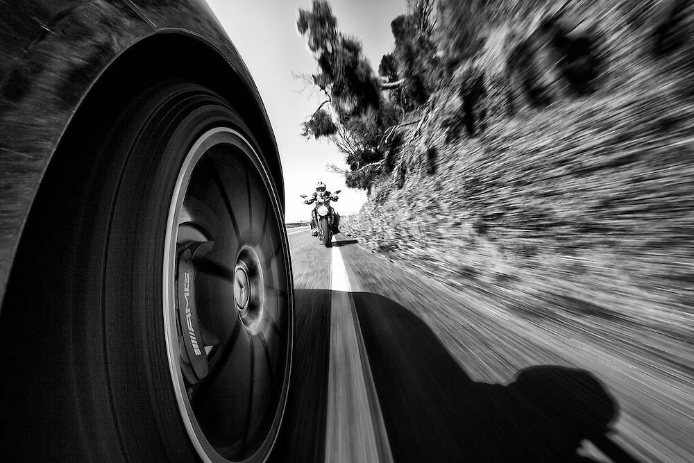 Driver vs Rider<br /> The SLS AMG and the Ducati Diavel on the Great Ocean Road, Australia