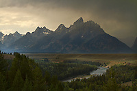 The Snake River Overlook in Grand Teton National Park with a late Summer thunderstorm passing by.