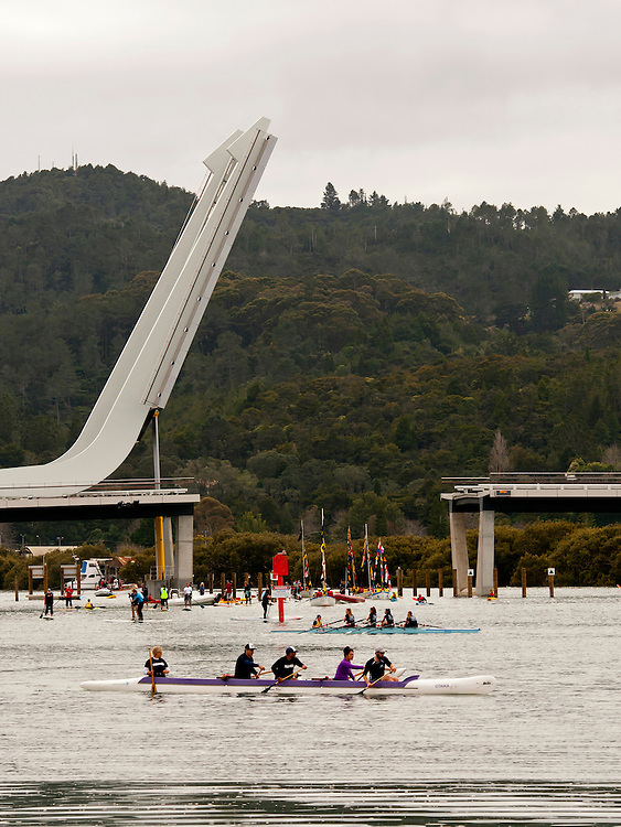 The giant bascules of the new opening bridge , Te Matua a Pohe, officially swing for the first time in a ceremony attended by several thousand on the Upper Whangarei harbour, New Zealand, Sunday, July 27, 2013. Credit:SNPA / Malcolm Pullman