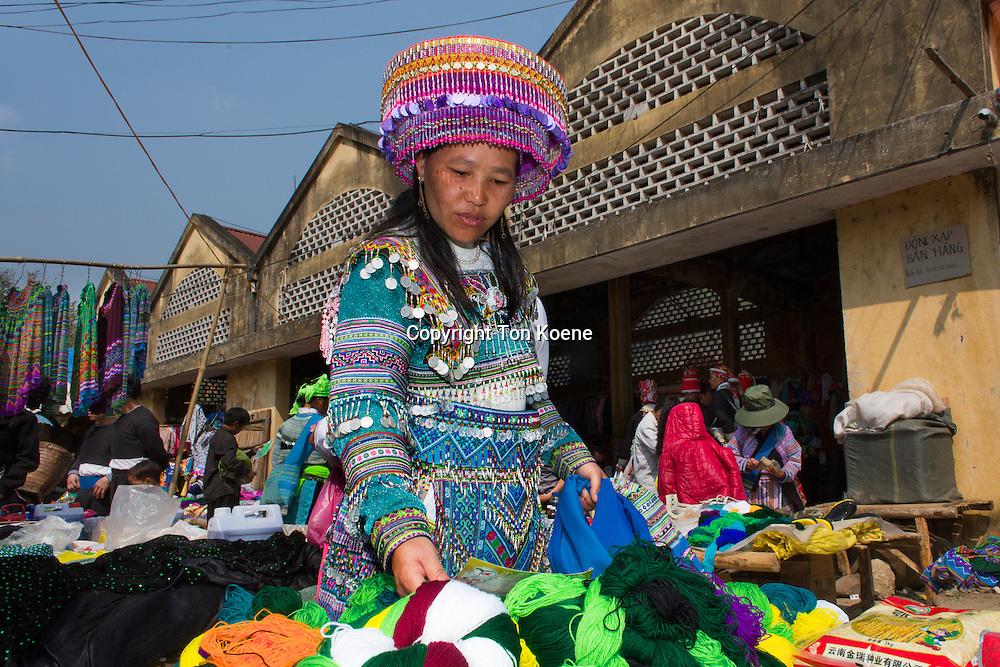 Ethnic Hmong tribe, shopping at Muong Hum market, Vietnam.