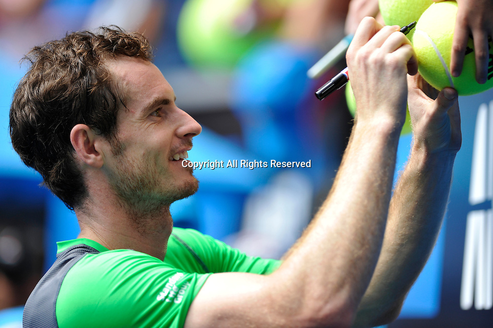 21.01.2015 Australian Open Tennis from Melbourne Park. Andy Murray of Great Britain signs autographs for fans after winning his match against Marinko Matosevic of Australia on day three of the 2015 Australian Open at Melbourne Park, Melbourne, Australia.