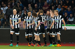 April 18, 2018 - Naples, Campania, Italy - The team of Udinese celebrates after scoring during the Serie A football match between SSC Napoli and Udinese Calcio at San Paolo Stadium. (Credit Image: © Ernesto Vicinanza/SOPA Images via ZUMA Wire)