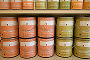 Environmentally friendly paints such as Yolo and Benjamin Moore's Natura contain no VOC's (Volatile Organic Compounds) on shelf at Cox Paints in Culver City, California, USA
