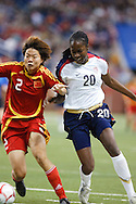 (20 US) Tina Ellertson & (2 China) Yuan Fan. US Women National Team vs. China. US 1 China 0