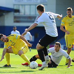 TELFORD COPYRIGHT MIKE SHERIDAN Aaron Williams of Telford battles for the ball during the National League North fixture between AFC Telford United and Nantwich Town on Saturday, September 21, 2019.<br /> <br /> Picture credit: Mike Sheridan<br /> <br /> MS201920-020