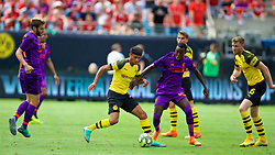 CHARLOTTE, USA - Sunday, July 22, 2018: Borussia Dortmund's Mahmoud Dahoud (left) and Liverpool's Rafael Camacho during a preseason International Champions Cup match between Borussia Dortmund and Liverpool FC at the  Bank of America Stadium. (Pic by David Rawcliffe/Propaganda)