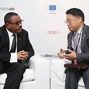 20160615 - Brussels , Belgium - 2016 June 15th - European Development Days - Bilateral Meeting Hailemariam Desalegn Boshe, Prime Minister of Ethiopia<br /> and LI Yong, Director General United Nations Industrial Development Organization and Hailemariam Desalegn Boshe, Prime Minister of Ethiopia<br /> <br /> &copy; European Union