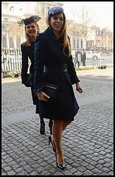 (L-R) Princess Beatrice of York, Sarah, Duchess of York arrives at Westminster Abbey for the service to celebrate the life and work of Sir David Frost, Westminster Abbey, London, United Kingdom. Thursday, 13th March 2014. Picture by Andrew Parsons / i-Images