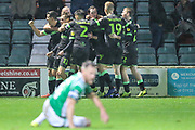 FGR players celebrate Forest Green Rovers George Williams(11) last minute winner during the EFL Sky Bet League 2 match between Yeovil Town and Forest Green Rovers at Huish Park, Yeovil, England on 8 December 2018.