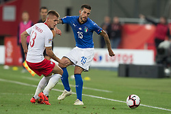October 14, 2018 - Chorzow, Poland - Damian Szymanski (POL), Cristiano Biraghi (ITA)  in action during the UEFA Nations League A group three match between Poland and Italy at Silesian Stadium on October 14, 2018 in Chorzow, Poland. (Credit Image: © Foto Olimpik/NurPhoto via ZUMA Press)