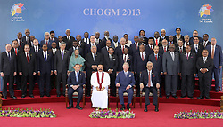 600719338 <br /> Commonwealth heads of states pose for an official group picture with Britain's Prince Charles (front row, 2nd R) and host Sri Lanka's President Mahinda Rajapaksa (front row, 2nd L), after the opening ceremony of the Commonwealth Heads of Government Meeting in Colombo, Sri Lanka, Nov. 15, 2013. The three-day meeting opened here on Friday, 15th November 2013. Picture by  imago / i-Images<br /> UK ONLY