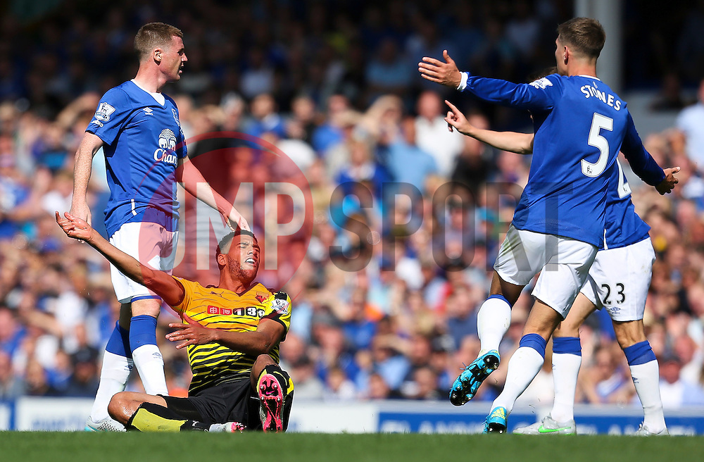 Watford's Etienne Capoue complains after being fouled - Mandatory byline: Matt McNulty/JMP - 07966386802 - 08/08/2015 - FOOTBALL - Goodison Park -Liverpool,England - Everton v Watford - Barclays Premier League