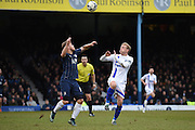 Southend United midfielder Kevan Hurst  and Gillingham defender John Egan during the Sky Bet League 1 match between Southend United and Gillingham at Roots Hall, Southend, England on 19 March 2016. Photo by Martin Cole.