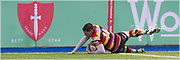 Carmarthen Quins' winger Jake Newman scores his sides second try of the afternoon.<br /> <br /> Photographer: Dan Minto<br /> <br /> Indigo Welsh Premiership Rugby - Round 11- Merthyr RFC v Carmarthen Quins RFC - Saturday 21st December 2019 - Y Wern, Merthyr, South Wales, UK.<br /> <br /> World Copyright © Dan Minto Photography<br /> <br /> mail@danmintophotography.com <br /> www.danmintophotography.com