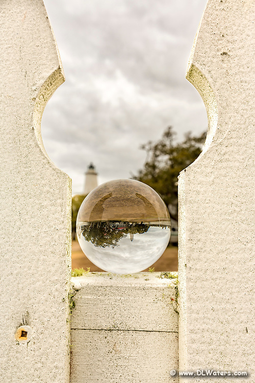 Crystal ball and picket fence at Ocracoke Lighthouse on the Outer Banks of NC.