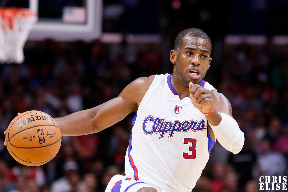 17 October 2014: Los Angeles Clippers guard Chris Paul (3) drives to the basket during the Los Angeles Clippers 101-97 victory over the Utah Jazz, in a preseason game, at the Staples Center, Los Angeles, California, USA.