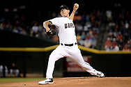 PHOENIX, AZ - AUGUST 15:  Anthony Banda #50 of the Arizona Diamondbacks delivers a pitch in the first inning of the MLB game against the Houston Astros at Chase Field on August 15, 2017 in Phoenix, Arizona.  (Photo by Jennifer Stewart/Getty Images)