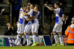 Chris Lines of Bristol Rovers celebrates with his teammates  after scoring a goal to give his side a 1-0 lead in the second half of extra time - Rogan Thomson/JMP - 11/08/2017 - FOOTBALL - Memorial Stadium - Bristol, England - Bristol Rovers v Cardiff City - EFL Cup First Round.