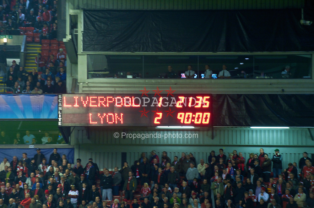 LIVERPOOL, ENGLAND - Tuesday, October 20, 2009: The Anfield scoreboard records Liverpool's 2-1 defeat by Olympique Lyonnais during the UEFA Champions League Group E match at Anfield. (Pic by David Rawcliffe/Propaganda)