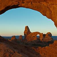 Sunrise on Turret Arch, Arches National Park, Moab, Utah, USA