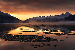 Ice slowly begins to form on the Chilkat River at sunrise in the Alaska Chilkat Bald Eagle Preserve near Haines, Alaska. During November and December several thousand bald eagles come to the alluvial delta area at the confluence of the Tsirku and Chilkat Rivers because of the availability of spawned-out salmon and open waters. The open water is due to a deep accumulation of gravel and sand that acts as a large water reservoir whose water temperature remains 10 to 20 degrees warmer than the surrounding water temperature. This warmer water seeps into the Chilkat River, keeping a five mile stretch of the river from freezing as quickly as other rivers in the area. The 48,000 acre area was designated as the Alaska Chilkat Bald Eagle Preserve in 1982.