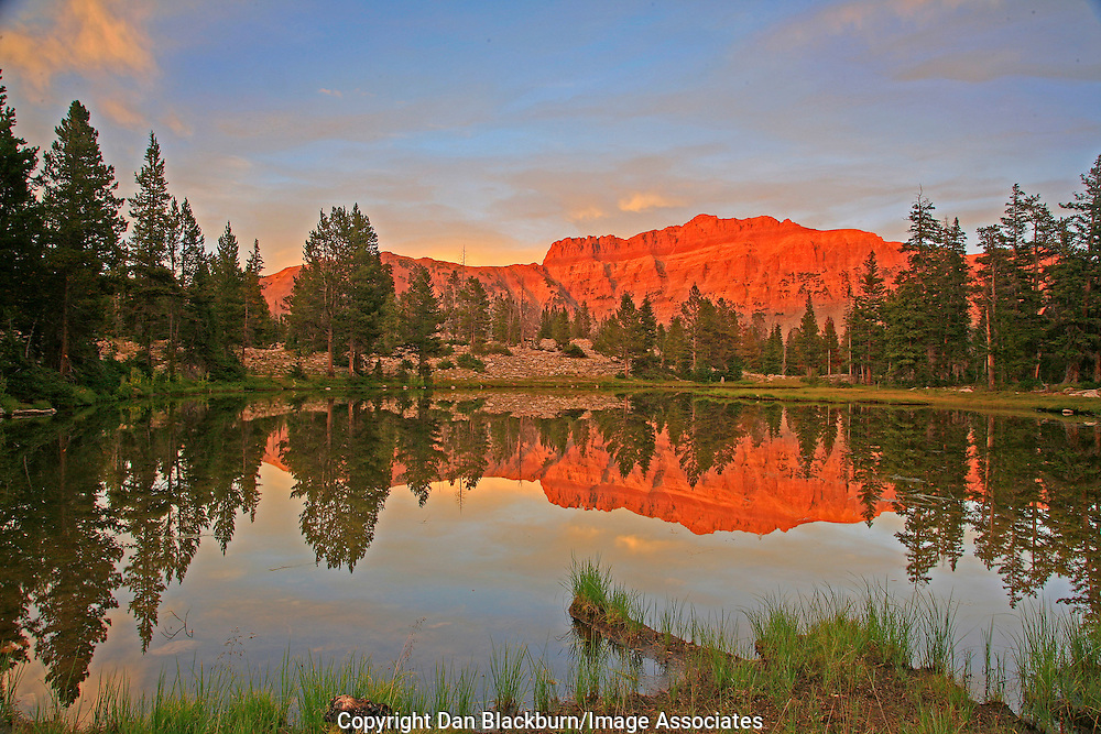 Sunset On Hayden Peak Reflected in Pond Uinta Mountains Utah