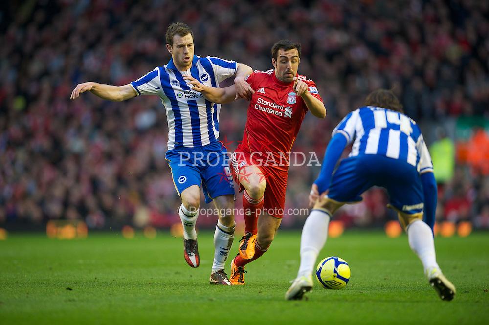 LIVERPOOL, ENGLAND - Saturday, February 19, 2012: Liverpool's Jose Enrique in action against Brighton & Hove Albion during the FA Cup 5th Round match at Anfield. (Pic by David Rawcliffe/Propaganda)