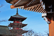Gojunoto Pagoda on a cold winter's day. Hirosaki northern Japan.