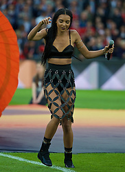 BASEL, SWITZERLAND - Wednesday, May 18, 2016: Arlissa performs during the opening ceremony before the UEFA Europa League Final between Liverpool and Sevillaat St. Jakob-Park. (Pic by David Rawcliffe/Propaganda)