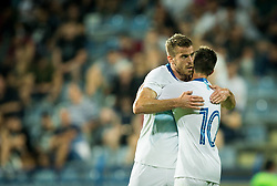Domen Crnigoj of Slovenia and Miha Zajc of Slovenia of Slovenia celebrate after Zajc scored second goal  for Slovenia during friendly football match between National Teams of Montenegro and Slovenia, on June 2, 2018 in Stadium Pod goricom, Podgorica, Montenegro. Photo by Vid Ponikvar / Sportida