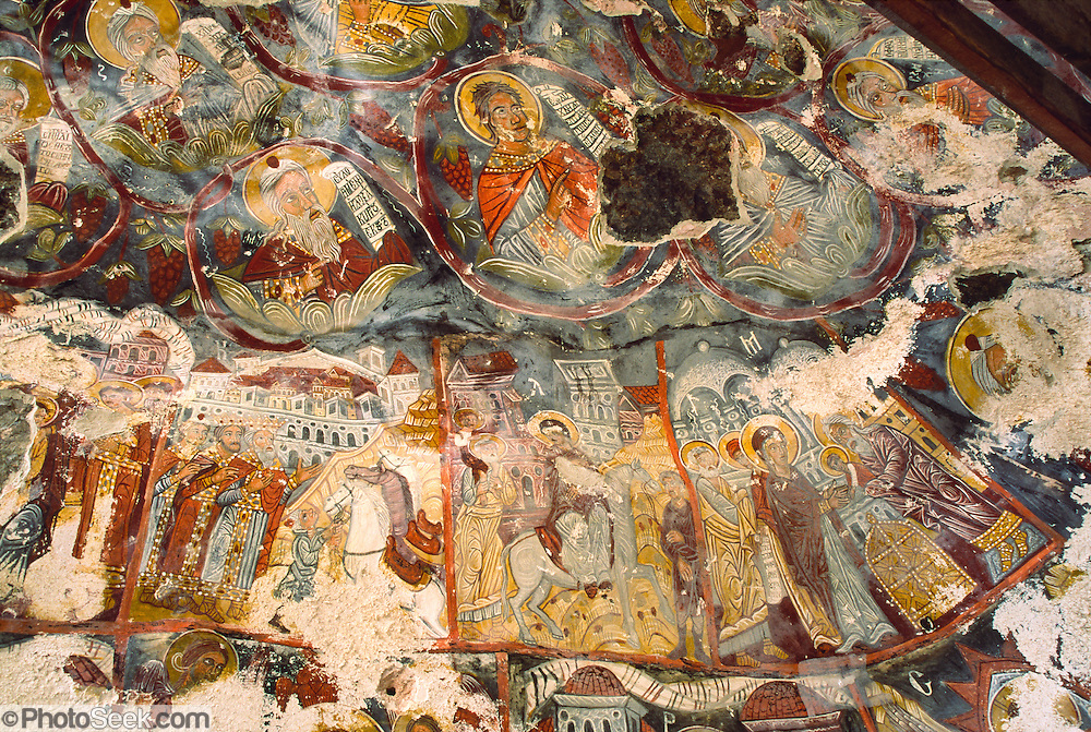 "This colorful old Greek Orthodox Christian fresco ceiling is at Sumela Monastery, under restoration in this 1999 image. The 1000-year-old Monastery of the Virgin Mary at Sumela is among the most impressive sights of Turkey's Black Sea coast. The monastery, founded in AD 386, clings to a cliff above a cool evergreen forest in Altindere National Park, in the Maçka district of Trabzon Province in the modern Republic of Turkey. The Sumela Monastery (Greek: Μονή Παναγίας Σουμελά, Moní Panagías Soumelá; Turkish: Sümela Manastırı) is a Greek Orthodox monastery dedicated to the Virgin Mary (Panagia, meaning ""All Holy"" in Greek) at Melá Mountain (Turkish: Karadağ, which is a direct translation of the Greek name Ssou Melá, ""Black Mountain"") within the Pontic Mountains (Turkish: Kuzey Anadolu Dağları) range."