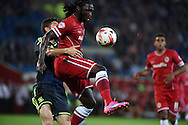 Kenwyne Jones of Cardiff city &reg; controls the ball watched closely by Damia Abella of Middlesbrough (l). Skybet football league championship match, Cardiff city v Middlesbrough at the Cardiff city stadium in Cardiff, South Wales on Tuesday 16th Sept 2014<br /> pic by Andrew Orchard, Andrew Orchard sports photography.