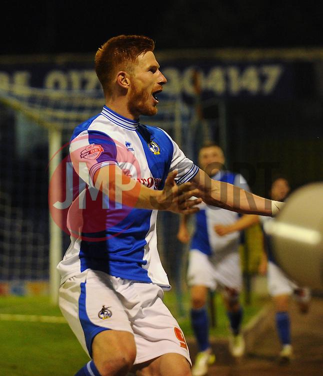 Bristol Rovers' Matt Harrold celebrates after scoring - Photo mandatory by-line: Seb Daly/JMP - Tel: Mobile: 07966 386802 27/09/2013 - SPORT - FOOTBALL - Roots Hall - Southend - Southend United V Bristol Rovers - Sky Bet League Two