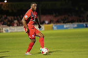 York City defender Femi Illesami during the Sky Bet League 2 match between York City and Oxford United at Bootham Crescent, York, England on 29 September 2015. Photo by Simon Davies.