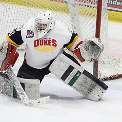WELLINGTON, ON - FEBRUARY 9: Logan Bateman #30 of the Wellington Dukes makes the save  during the third period on February 9, 2019 at Wellington and District Community Centre in Wellington, Ontario, Canada.<br /> (Photo by Tim Bates / OJHL Images)