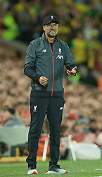 LIVERPOOL, ENGLAND - Friday, August 9, 2019: Liverpool's manager Jürgen Klopp reacts during the opening FA Premier League match of the season between Liverpool FC and Norwich City FC at Anfield. (Pic by David Rawcliffe/Propaganda)