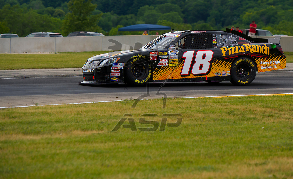 Elkhart Lake,WI - JUN 23, 2012: Michael McDowell (18) drives during the Sargento 200 at Road of America in Elkhart Lake , WI.