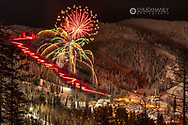Torchight parade and fireworks on New Years Eve at Whitefish Mountain Resort in Whitefish, Montana, USA