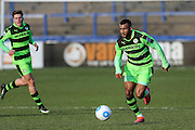 Forest Green Rovers Dan Wishart(17) runs forward during the FA Trophy match between Macclesfield Town and Forest Green Rovers at Moss Rose, Macclesfield, United Kingdom on 4 February 2017. Photo by Shane Healey.