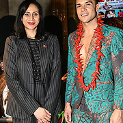 Her Excellency HE Hon. Titilupe Fanetupouvava'u Tu'ivakano of Tonga High Commissioner UK and Nick Afoa attend London Pacific Fashion Week 2019, London, UK 25 Feb 2019.