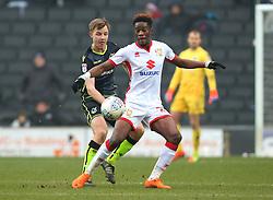 Ike Ugbo of Milton Keynes Dons takes on Tony Craig of Bristol Rovers - Mandatory by-line: Robbie Stephenson/JMP - 03/03/2018 - FOOTBALL - Stadium MK - Milton Keynes, England - Milton Keynes Dons v Bristol Rovers - Sky Bet League One
