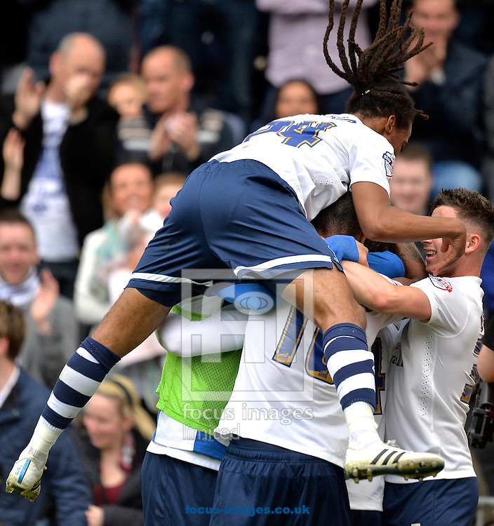 Joe Garner of Preston North End (right) celebrates after  scoring a penalty to make it Preston North End 2 Chesterfield 0 during the Sky Bet League 1 playoff match at Deepdale, Preston<br /> Picture by Ian Wadkins/Focus Images Ltd +44 7877 568959<br /> 10/05/2015