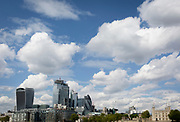 A wide cityscape of the the Tower of London (far right) and the City of London, the capital's financial district, on 10th May 2019, in London, England.
