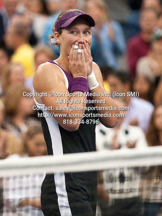 Sept. 11, 2011<br /> A gleeful Samantha Stosur of Australia, looks to her players box after winning her first US Open title defeating the USA's Serena Williams in the final of the US Open being played at the USTA Billie Jean King National Tennis Center, Flushing Meadow, NY