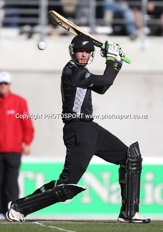 New Zealand opening batsman Martin Guptill batting during the 3rd ODI, Black Caps v Pakistan, One Day International Cricket. AMI Stadium, Christchurch, New Zealand. Saturday 29  January 2011. Photo: Andrew Cornaga/photosport.co.nz