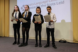Pictured: Students Alex Cook, Maya Burns, Jocelyn Meek and Neave Mackie read extracts from Sunset Song<br />
