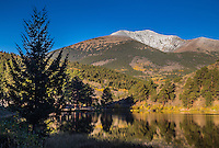 Reflections of 13,971 ft. Mount Ouray of the Sawatch Range in O' Haver Lake.  Colorado.