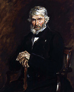 Thomas Carlyle 1877 by  John Everett Millais  (1829-1896)  English painter. Thomas Carlyle (1795-1881)  Scottish satirical writer, essayist, and historian. Three-quarter length portrait of subject seated, looking forward.